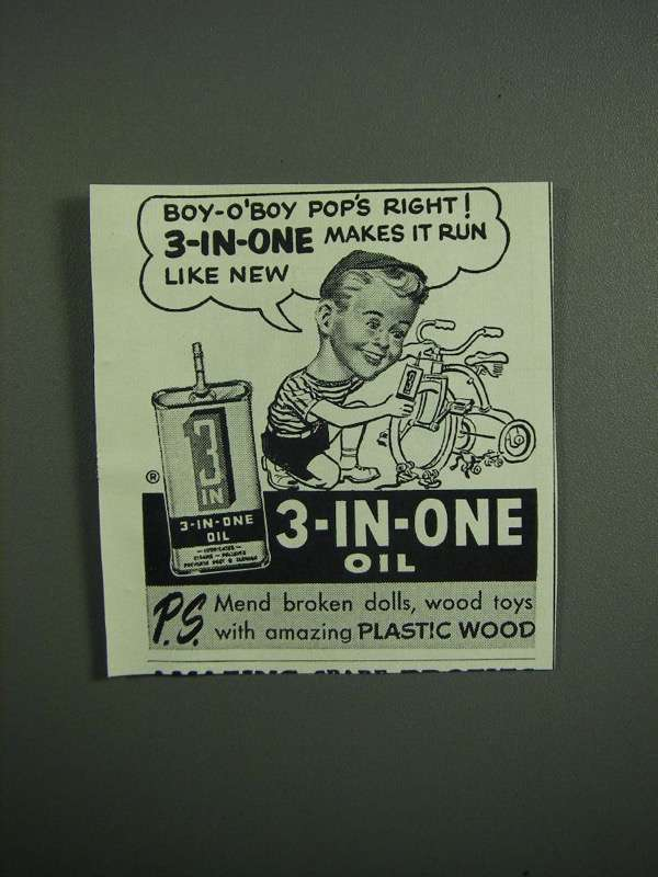 Primary image for 1951 3-in-One Oil Ad - Boy-o-'Boy Pop's Right!
