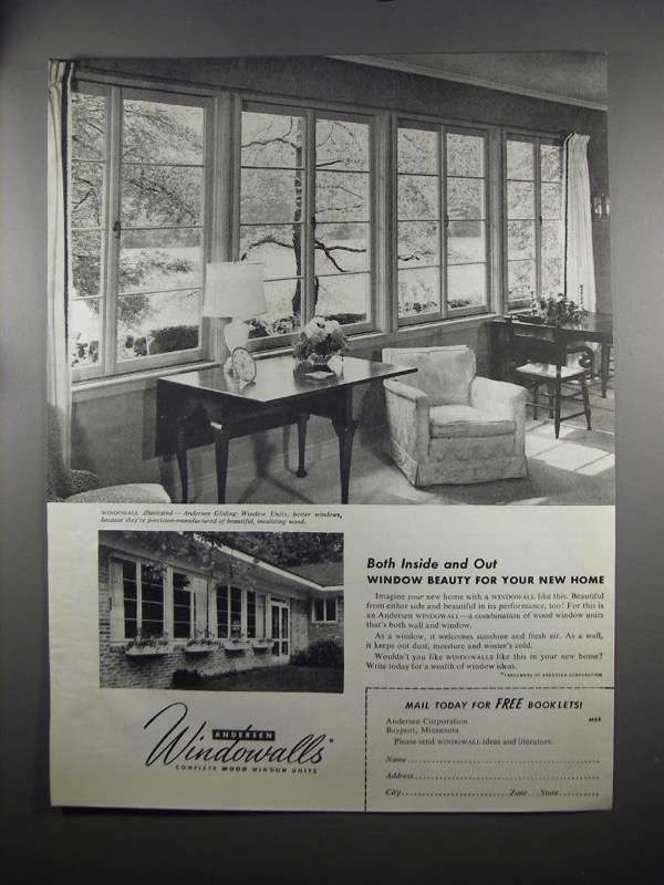Primary image for 1951 Andersen Windowalls Ad - Both Inside and Out