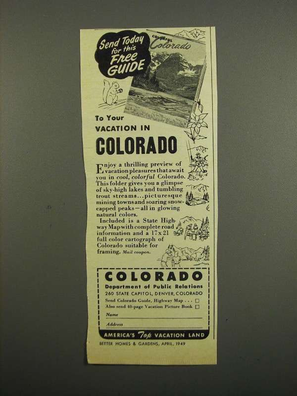 Primary image for 1949 Colorado Department of Public Relations Ad