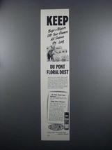 1949 Du Pont Floral Dust Ad - Keep Bugs Off - $14.99