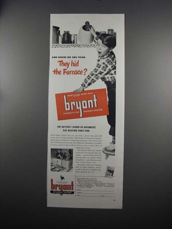 Primary image for 1951 Bryant Automatic Gas Heating Ad - Hid the Furnace