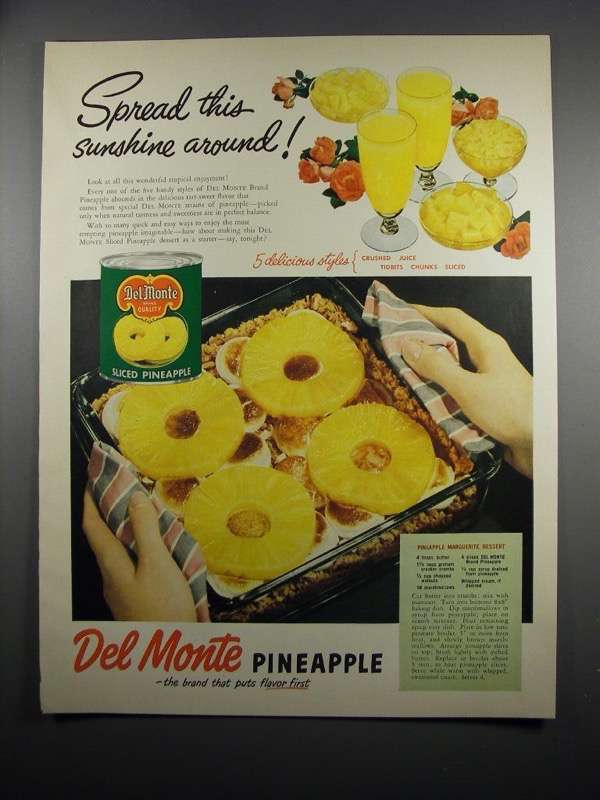 Primary image for 1951 Del Monte Pineapple Ad - Spread This Sunshine