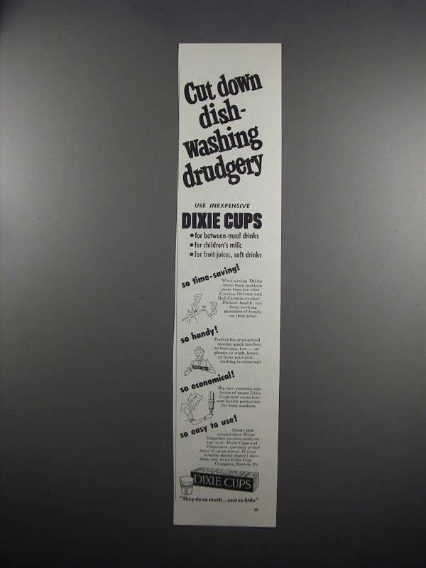 Primary image for 1951 Dixie Cups Ad - Cut Down Dish-Washing Drudgery