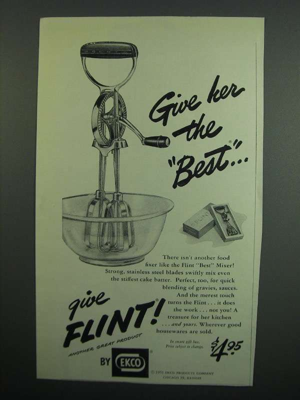 Primary image for 1951 Ekco Flint Best Mixer Ad - Give Her the Best