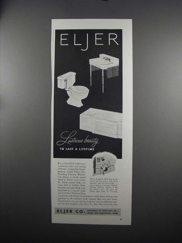 Primary image for 1951 Eljer Plumbing Fixtures Ad - Lustrous-Beauty