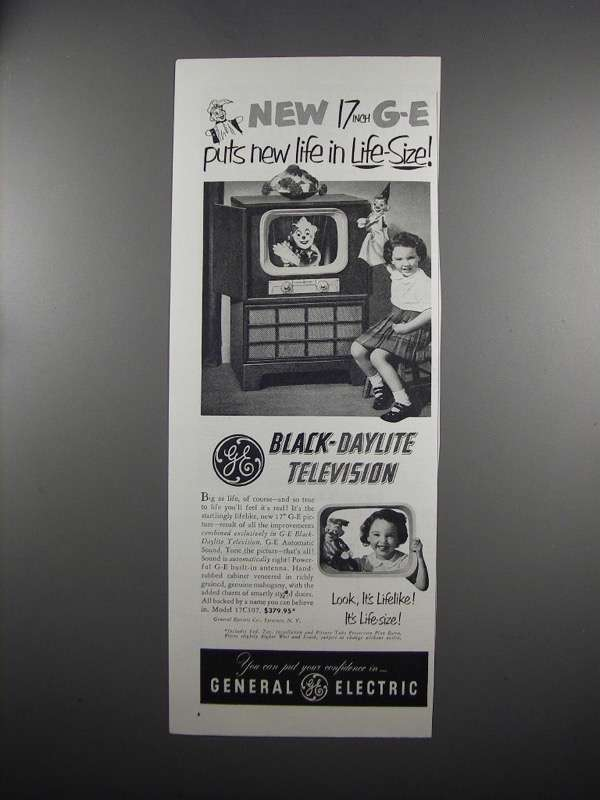 Primary image for 1951 General Electric Black-Daylite TV Model 17C107 Ad