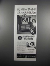 1951 General Electric Black-Daylite TV Model 17C107 Ad - $14.99