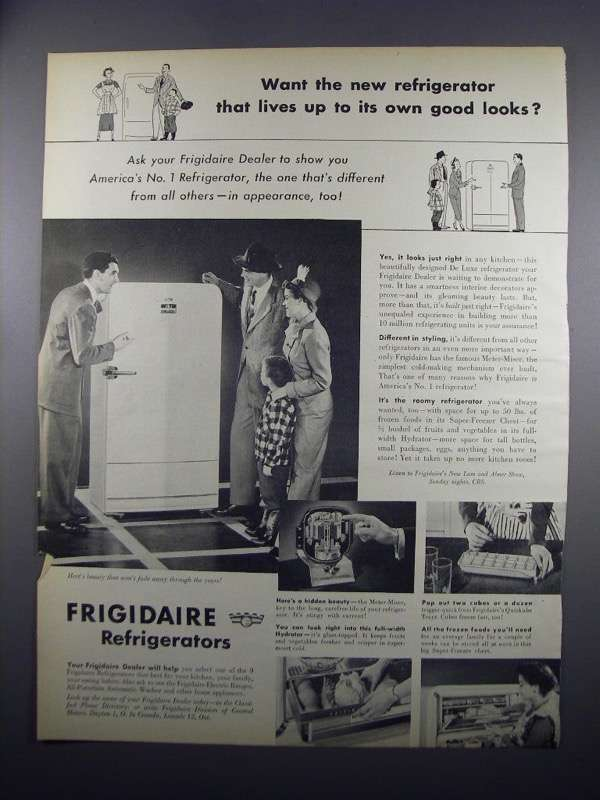 Primary image for 1949 Frigidaire Refrigerator Ad - Lives Up to Looks