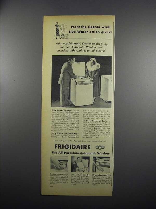 Primary image for 1949 Frigidaire Automatic Washer Ad - Live-Water Action