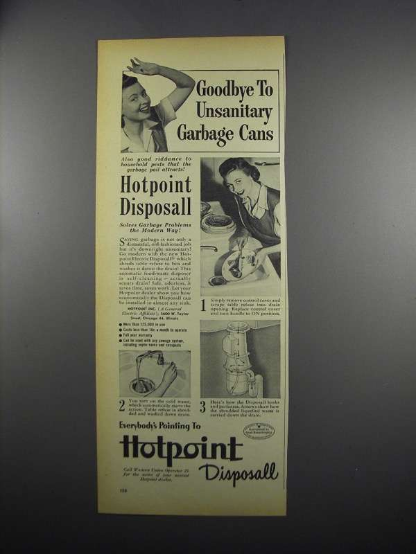 Primary image for 1949 Hotpoint Disposall Garbage Disposal Ad - Goodbye