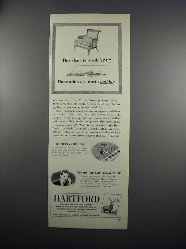 Primary image for 1949 Hartford Insurance Ad - These Ashes Worth Nothing