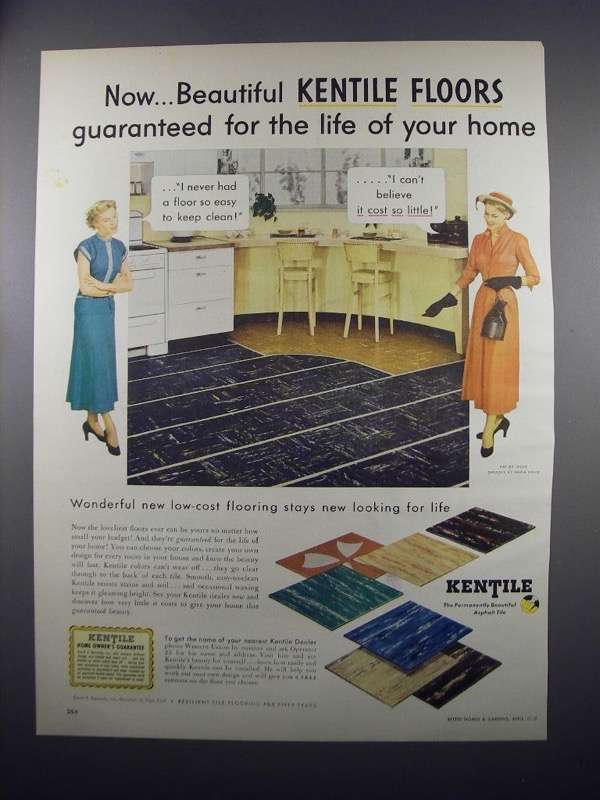 Primary image for 1949 Kentile Asphalt Tile Ad - For the Life Of Home