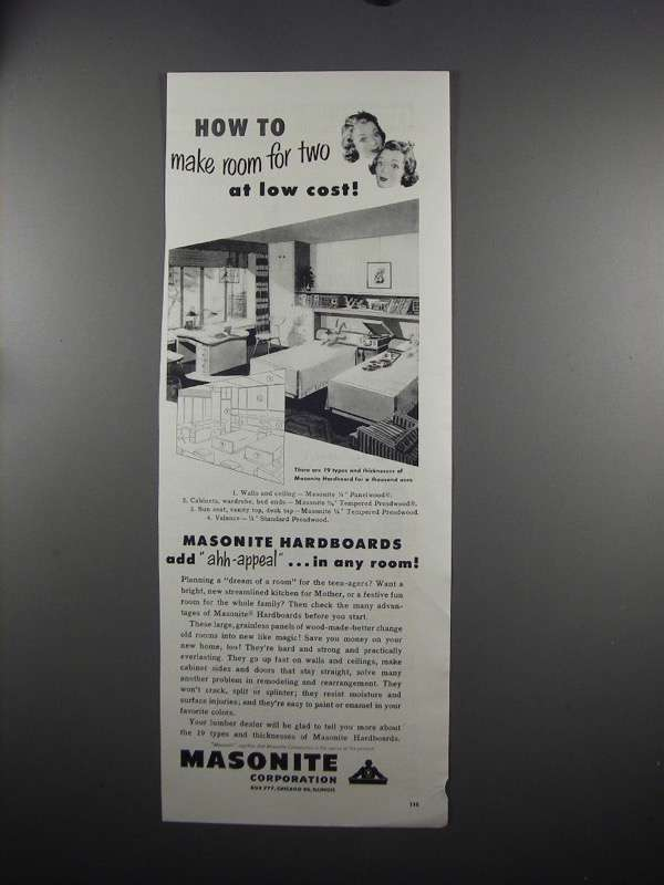 Primary image for 1951 Masonite Hardboards Ad - Make Room for Two
