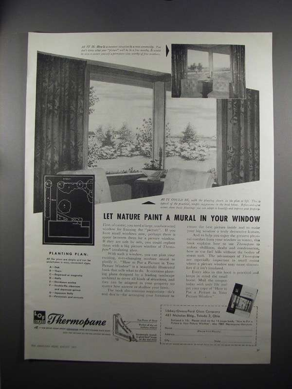 Primary image for 1951 Libbey-Owens-Ford Thermopane Glass Ad - Let Nature
