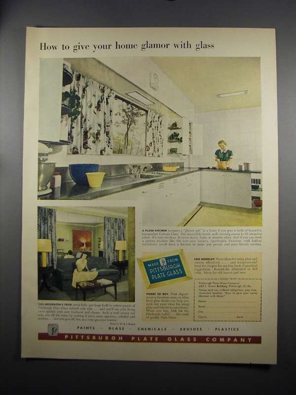 Primary image for 1951 Pittsburgh Plate Glass Ad - Glamor With Glass