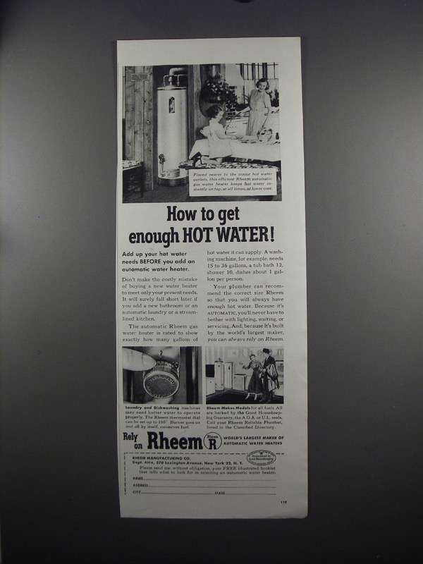 Primary image for 1951 Rheem Hot Water Heater Ad - Get Enough