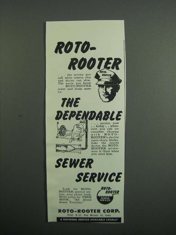 Primary image for 1951 Roto-Rooter Corp. Ad - Dependable Sewer Service