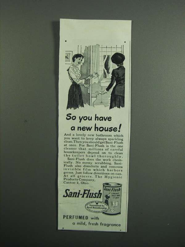 Primary image for 1951 Sani-Flush Cleanser Ad - You Have a New House