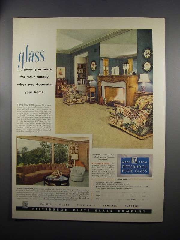 Primary image for 1951 Pittsburgh Plate Glass Ad - More For Your Money