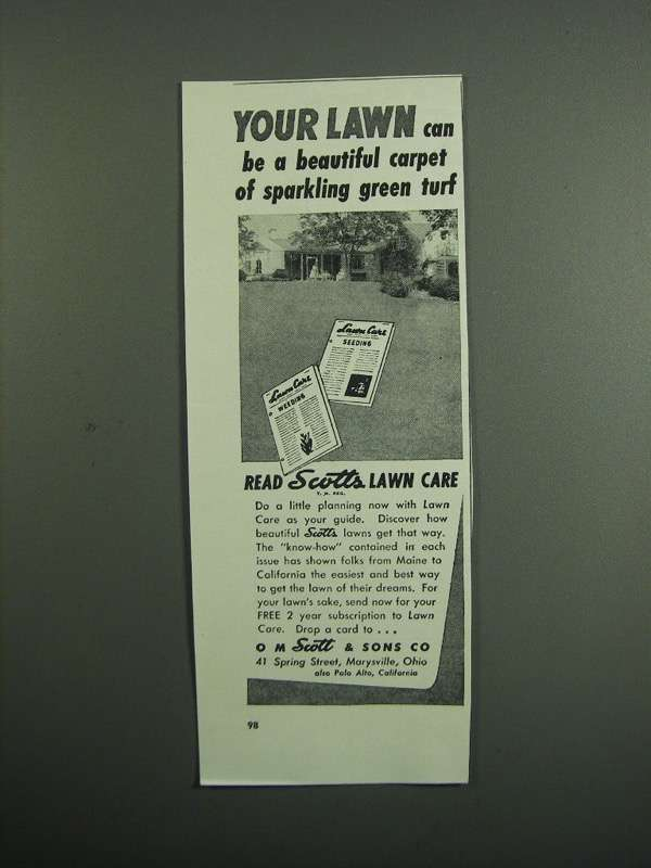 Primary image for 1951 Scotts Lawn Care Ad - Carpet of Green Turf