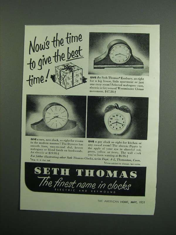 Primary image for 1951 Seth Thomas Kenbury, Dynaire and Pippin Clocks Ad