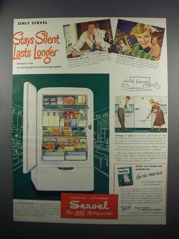 Primary image for 1949 Servel Refrigerator Ad - Stays Silent Lasts Longer