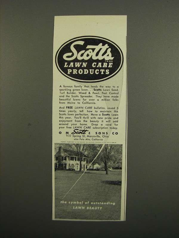 Primary image for 1949 Scotts Lawn Care Products Ad