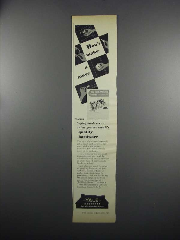 Primary image for 1949 Yale Hardware Ad - Don't Make a Move
