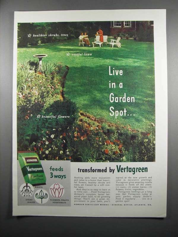 Primary image for 1950 Armour Vertagreen Ad - Live in a Garden Spot