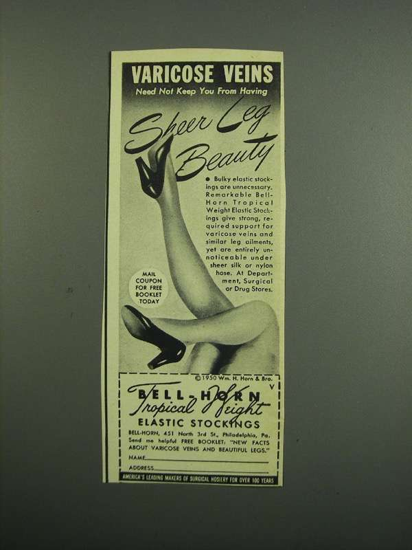 Primary image for 1950 Bell-Horn Tropical Weight Elastic Stockings Ad