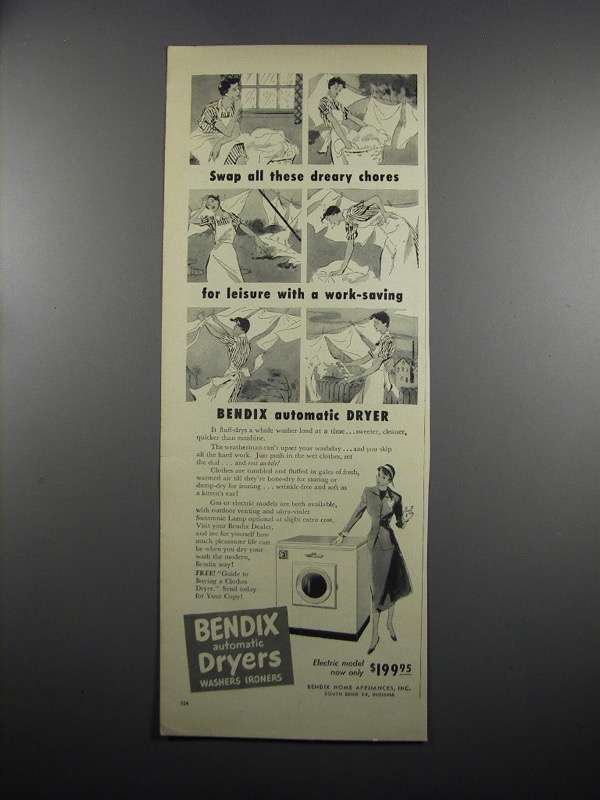 Primary image for 1950 Bendix Automatic Dryer Ad - Swap Dreary Chores