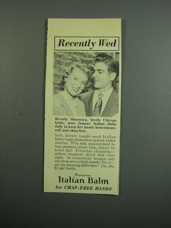 Primary image for 1950 Campana Italian Balm Ad - Recently Wed