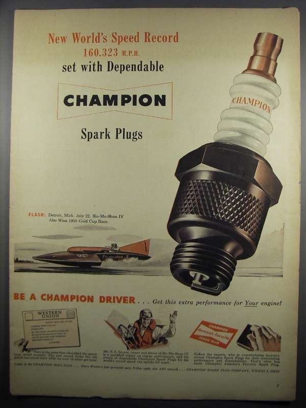 Primary image for 1950 Champion Spark Plugs Ad - Slo-Mo-Shun IV Boat