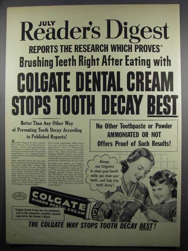 Primary image for 1950 Colgate Ribbon Dental Cream Ad - After Eating
