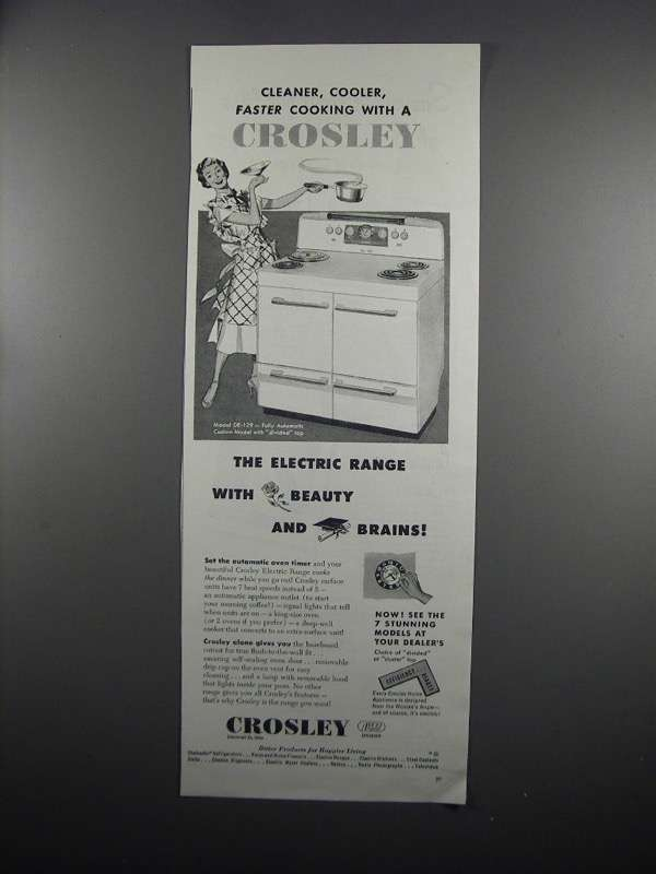Primary image for 1950 Crosley Model DE-129 Electric Range Ad