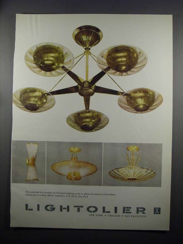 Primary image for 1953 Claremont Lightolier Lighting Ad