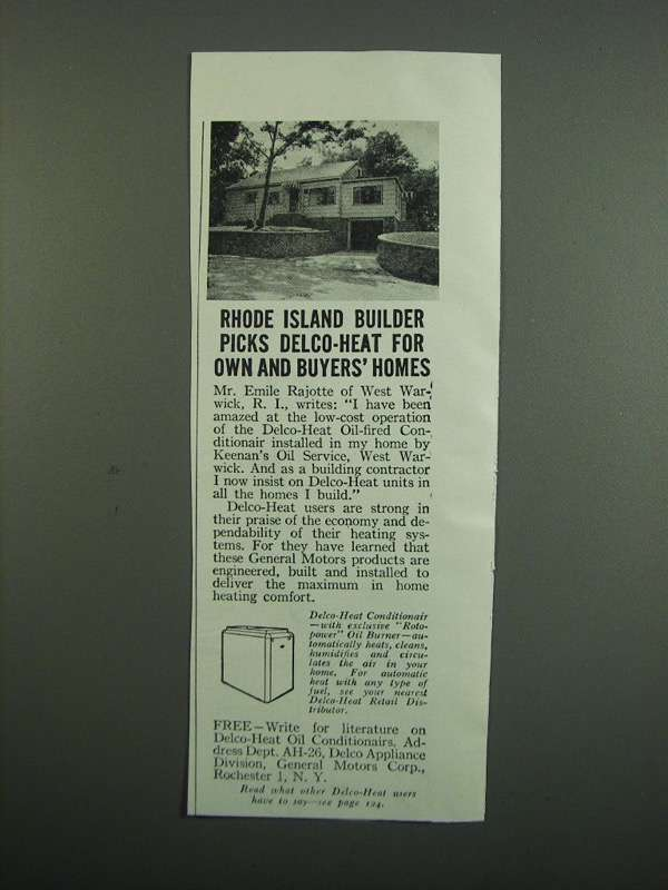 Primary image for 1950 Delco Heat Conditionair Ad - Rhode Island Builder
