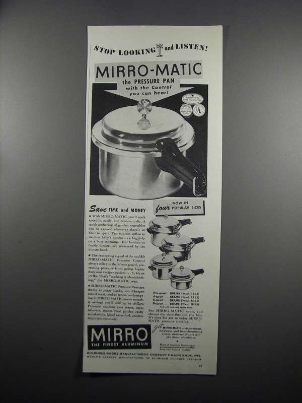 Primary image for 1950 Mirro Mirro-Matic Pressure Pan Ad - Stop Looking