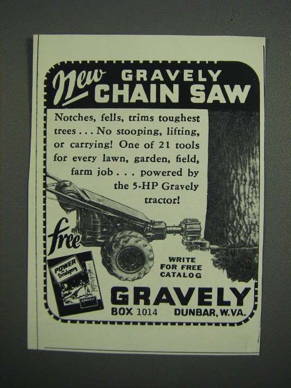 Primary image for 1953 Gravely Chain Saw Ad