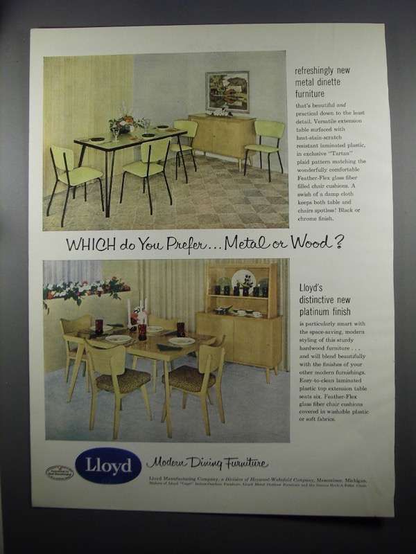 Primary image for 1953 Lloyd Metal Dinette and Hardwood Furniture Ad