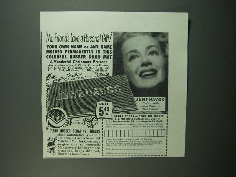 Primary image for 1950 R.L. Mitchell Rubber Co. Door Mat Ad - June Havoc