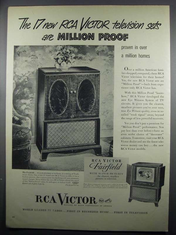 Primary image for 1950 RCA Victor Fairfield Television Ad - Million Proof