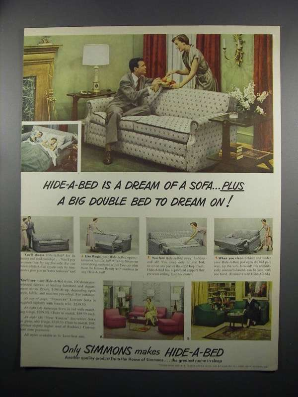 Primary image for 1950 Simmons Hide-A-Bed Ad - Dream of a Sofa