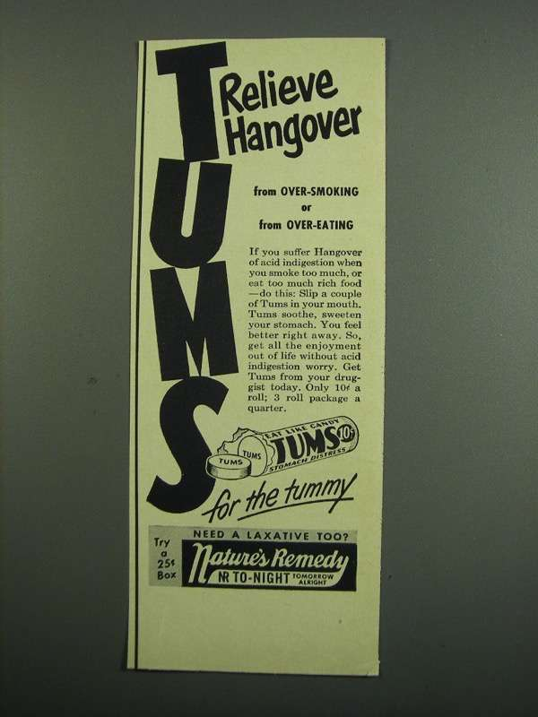Primary image for 1950 Tums Medicine Ad - Relieve Hangover