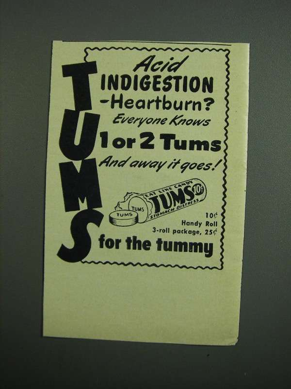 Primary image for 1950 Tums Medicine Ad - Acid Indigestion
