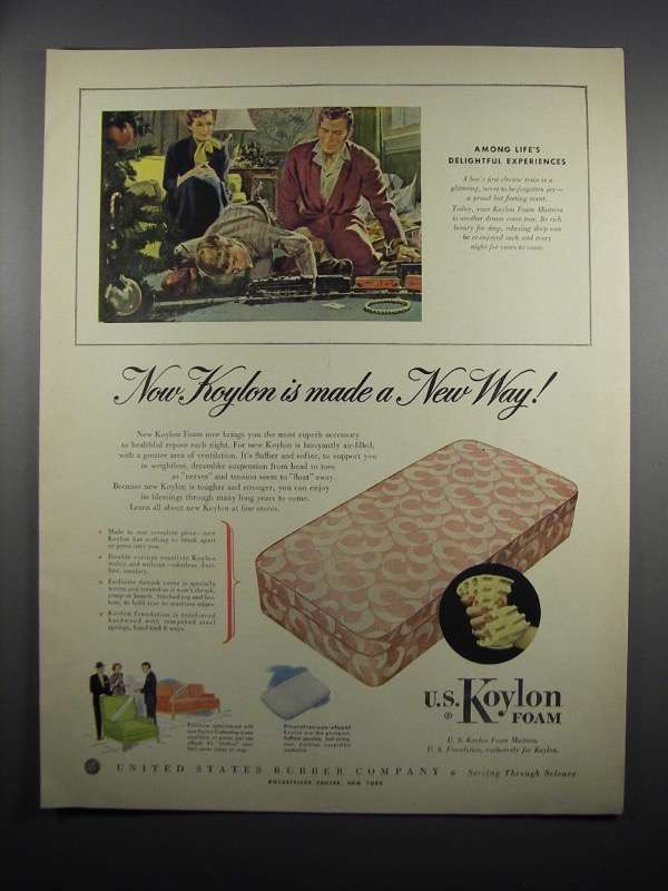 Primary image for 1950 United States Rubber Koylon Foam Ad - A New Way