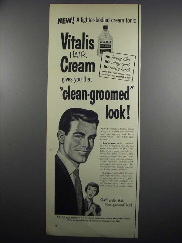 Primary image for 1950 Vitalis Hair Cream Ad - Lighter-Bodied Tonic