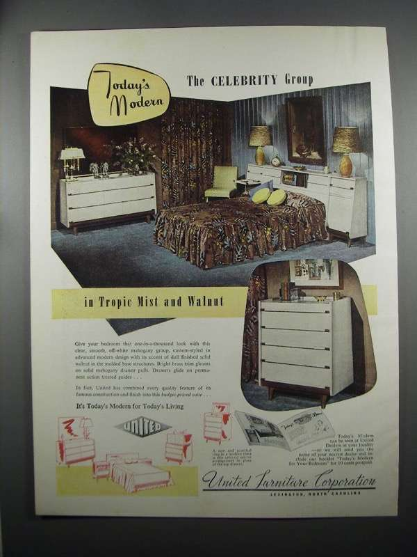 Primary image for 1953 United Furniture Celebrity Group Ad - Tropic Mist