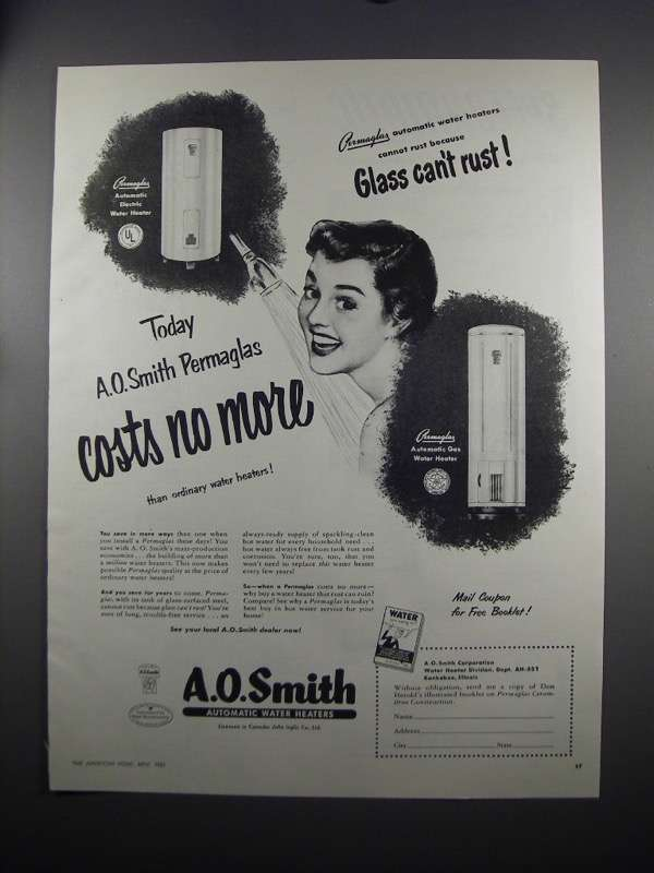 Primary image for 1951 A.O. Smith Water Heater Ad - Costs No More