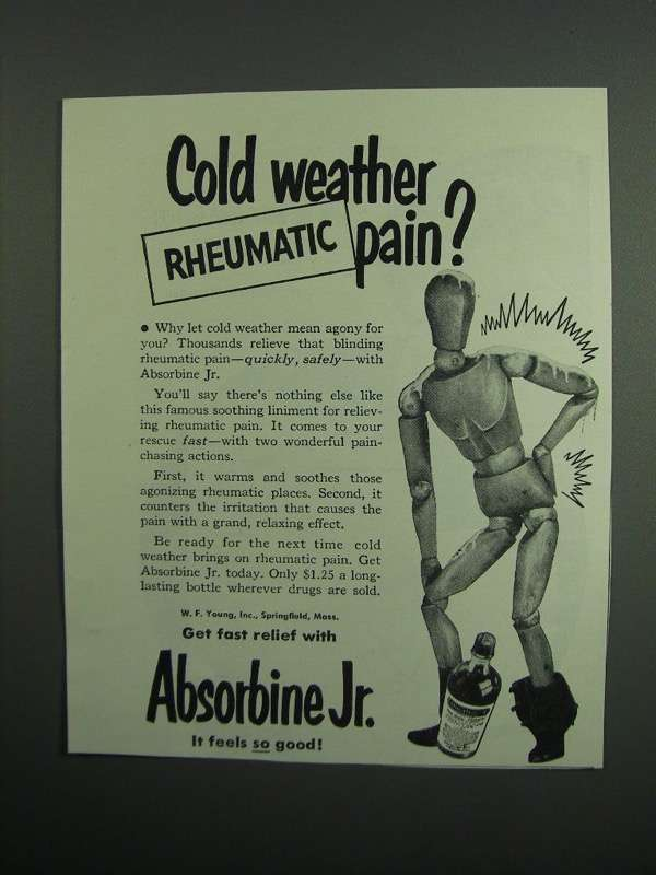 Primary image for 1951 Absorbine Jr. Ad - Cold Weather Rheumatic Pain?